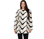 Dennis Basso Platinum Collection Chevron Faux Fur Coat - A297468