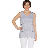 Susan Graver Printed Liquid Knit Sleeveless Tiered Top - A298668