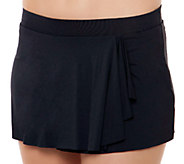 Simply Sole Solid Draped Skirted Panty Swim Skirt - A332468