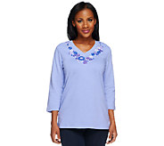 Denim & Co. 3/4 Sleeve V-Neck Floral Embroidery Top - A221869