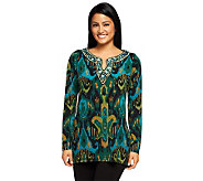 Bob Mackies Ikat Print Blouse with Jeweled Neckline - A229269