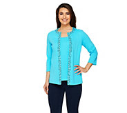 Quacker Factory Leopard Stripe Bling Duet 3/4 Sleeve Knit Top - A231169