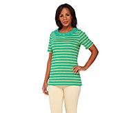 Quacker Factory Grommet Lurex Stripe Short Sleeve T-Shirt - A231569
