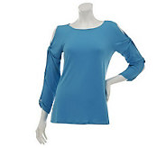 Susan Graver Liquid Knit Bateau Neck 3/4 Split Sleeve Top - A231769