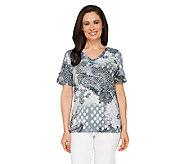 Denim & Co. Short Sleeve V-neck Printed Knit Top - A234269