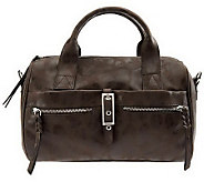 As Is B. Makowsky Leather Zip Top Convertible Satchel - A236169