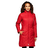 Isaac Mizrahi Live! Mixed Quilting Zip Front Coat with Hood - A239069