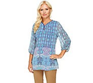 Liz Claiborne New York 3/4 Sleeve Border Print Tunic - A253869
