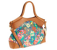 Emma and Sophia Floral Printed Canvas Dakota Shopper with Tan Trim - A253969