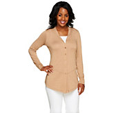 Linea by Louis DellOlio Draped Button Front V-Neck Cardigan - A255669