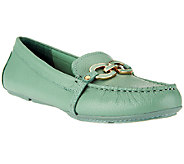 As Is Isaac Mizrahi Live! Leather Moccasins with Enamel Links - A258669