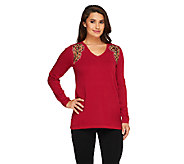 Bob Mackies Long Sleeve Embellished Sweater with V-Neckline - A259069