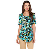 LOGO by Lori Goldstein Printed Short Sleeve Top with Chest Pocket - A263269