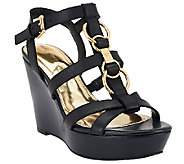 Marc Fisher Leather Multi-strap Wedges - Genny - A265269