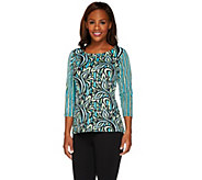 Bob Mackies 3/4 Sleeve Painterly Floral Stripe Knit Top - A265369