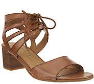 Franco Sarto Leather Cut-out Block Heel Sandals - Flourish - A265569