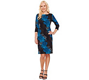 Bob Mackies 3/4 Sleeve Floral Print Jersey Knit Dress - A266369