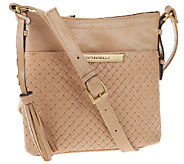 Tignanello Distressed Leather Embossed Weave RFID Crossbody - A266969
