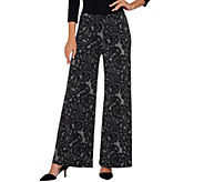 Bob Mackies Petite Pull-On Lace Print Knit Pants - A269569