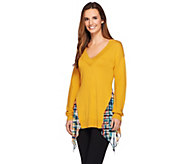 LOGO by Lori Goldstein V-neck Sweater with Printed Chiffon Godets - A269669