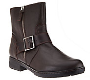 Clarks Leather Ankle Moto Boots with Buckle - Merrian Lynn - A270269
