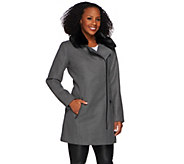 Isaac Mizrahi Live! Moto Coat with Faux Fur Collar - A270669