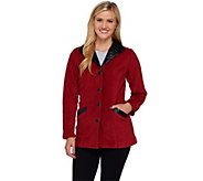 Bob Mackies Fleece Jacket with Quilted Faux Leather Detail - A271369
