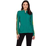 LOGO Lotus by Lori Goldstein Melange Knit Jacket with Mesh Details - A272869