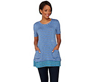 LOGO by Lori Goldstein Striped Knit Top with Contrast Trim - A273369