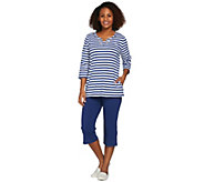 Quacker Factory Striped Grommet 3/4 Sleeve T-Shirt and Crop Pant Set - A273969