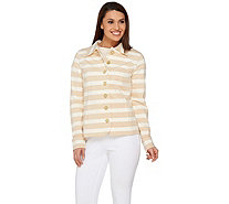Isaac Mizrahi Live! Striped Button Front Knit Jacket - A274169