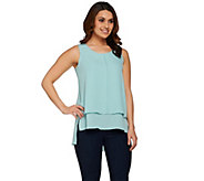 Lisa Rinna Collection Sleeveless Hi-Low Hem Tiered Top - A274669