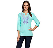 Quacker Factory Ombre Floral Split Neck 3/4 Sleeve T-shirt - A275269