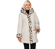 As Is Dennis Basso Faux Fur Water Resistant Puffer Reversible Coat - A280069