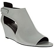 As Is H by Halston Open - Toe Cut-Out Leather Wedges - Robyn - A283569