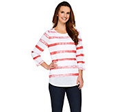As Is Women with Control Controlways Striped Print 3/4 Sleeve Top - A286769