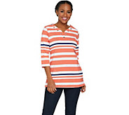 Quacker Factory Striped Grommet Split V-Neck Tunic with Pockets - A287069