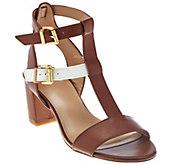 As Is LOGO by Lori Goldstein Double Buckle T-Strap Block Heels - A287569
