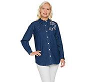 Quacker Factory Anchors Away Woven Button Front Shirt - A288169