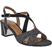 As Is Judith Ripka Embossed Leather Sandals - Jaqueline - A288969