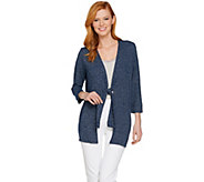 H by Halston Super Soft Knit 3/4 Sleeve Tie Front Cardigan - A289369