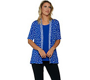 Susan Graver Printed Liquid Knit Cardigan and Tank Set - A290769