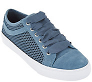 As Is Isaac Mizrahi Live! SOHO Suede Lace-up Sneakers w/Mesh - A290869