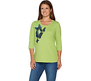 Quacker Factory Butterfly Party Sequin and Bead 3/4 Sleeve T-shirt - A291869