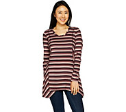 LOGO by Lori Goldstein Cotton Modal Striped Top w/ Seaming Detail - A294669