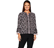 Bob Mackies Lace Print Button Front Blouse with Flutter Sleeves - A298769