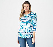 Denim & Co. Heavenly Jersey Floral Stripe Print Hi-Low Hem Top - A303169