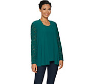 As Is Susan Graver Textured Liquid Knit Cardigan & Tank Set with Lace - A306669