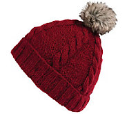 Nirvanna Designs Rope Beanie with Pom and Fleece - A331069