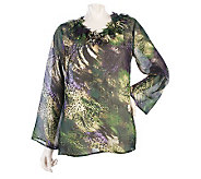 George Simonton Watercolor Print Blouse with Petal Trim - A216470